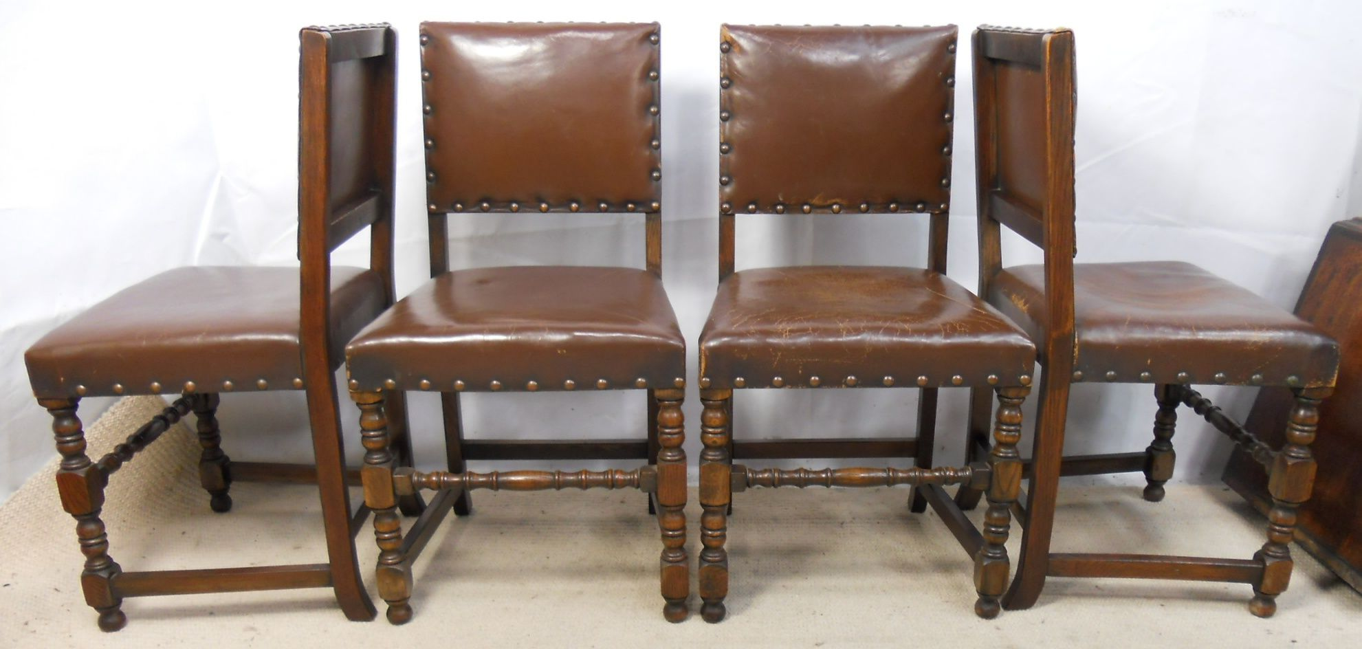 Five Leather Cromwellian Style Dining Chairs Sold